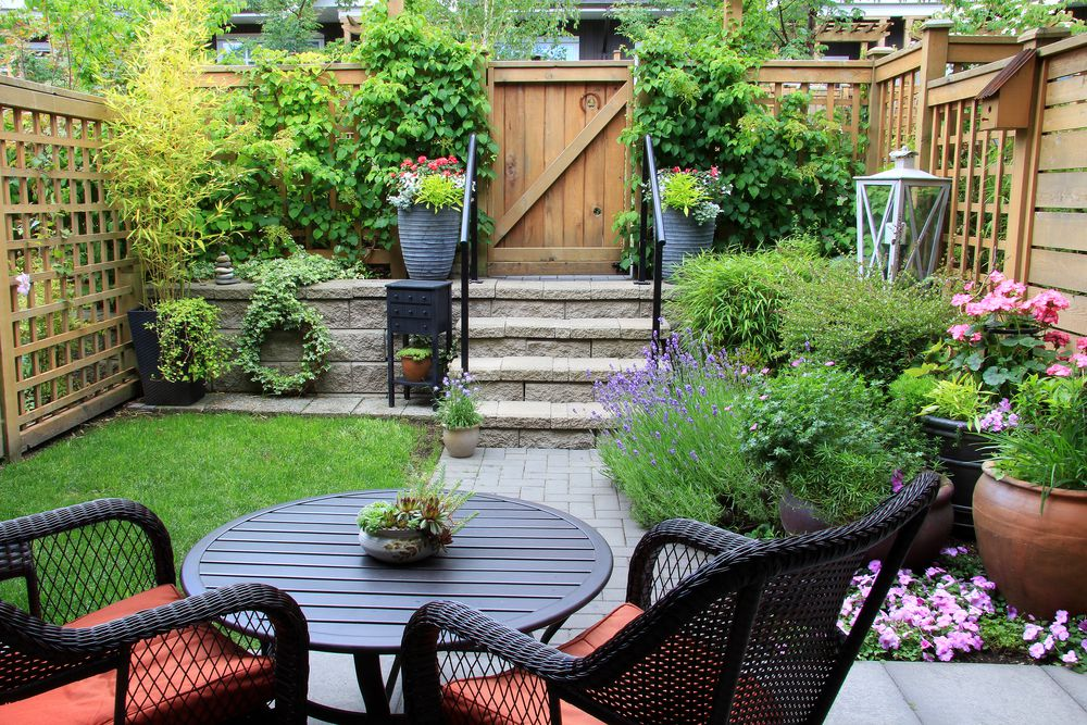 small graden with patio furniture
